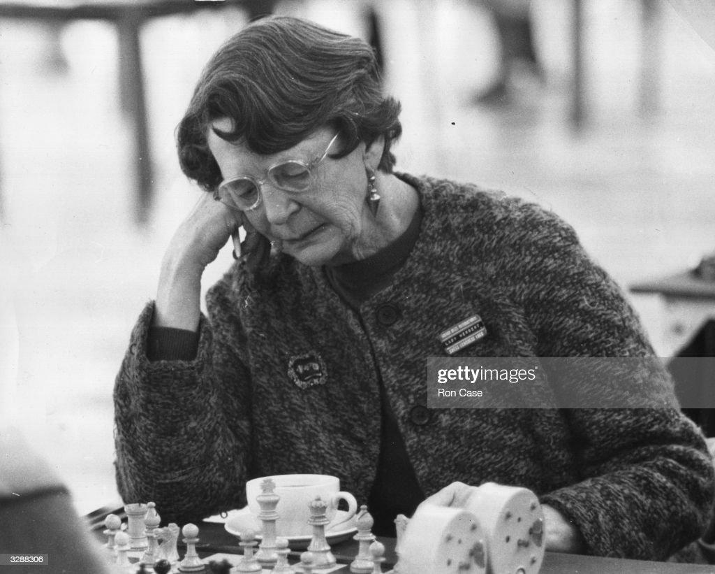 Lady Herbert in play at the Bognor Regis International Chess Congress.