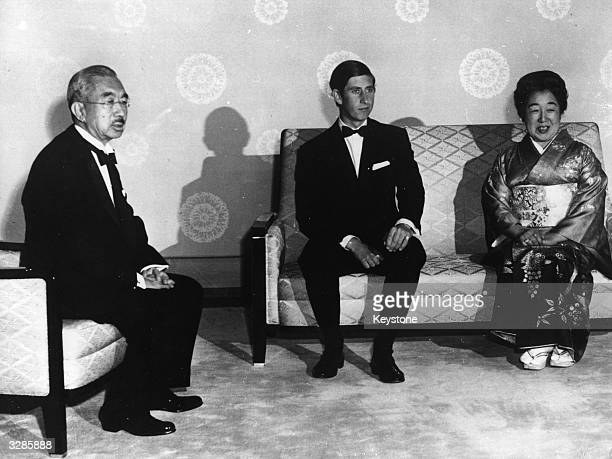Emperor Hirohito and Empress Nagako receive Charles, Prince of Wales at the Imperial Palace at the start of his visit to the Expo' 70 exhibition at...
