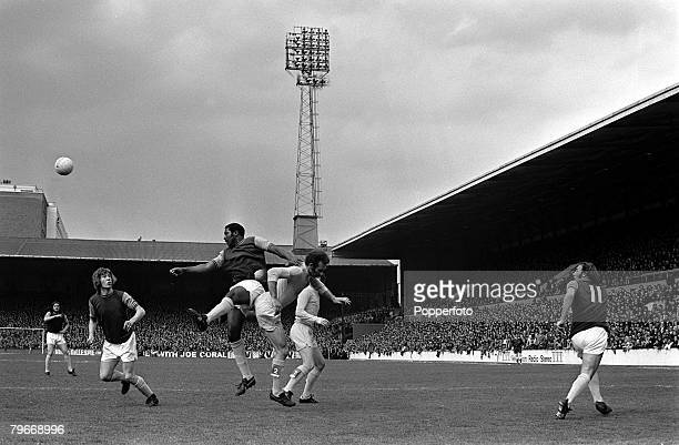 14th April 1973 Sport Football West Ham's Clyde Best heads with Leed's United's Paul Reaney during the West Ham v Leeds United division 1 match at...