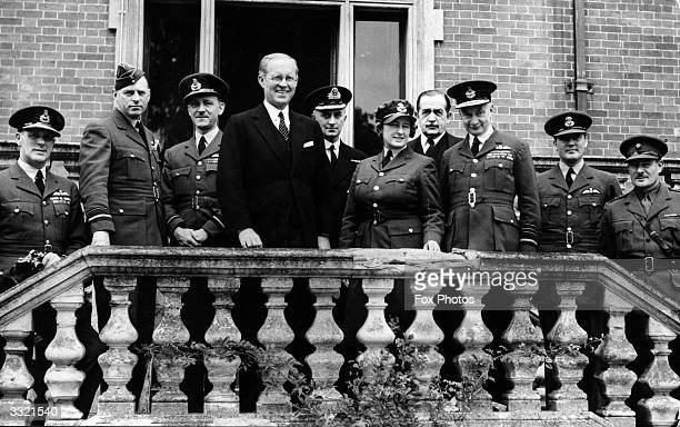 Multimillionaire businessman Joseph Kennedy the American ambassador to Britain during a visit to the headquarters of the Royal Air Force Coastal...