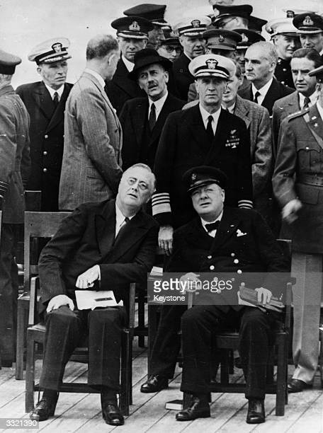 American President Franklin Delano Roosevelt with British Prime Minister Winston Churchill on board the 'Prince of Wales' for their Atlantic meeting