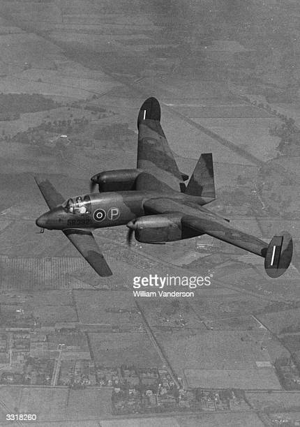 Libellula in flight. Designed by George Miles, the Libellula is a tandem-winged and twin-engined machine which gives the pilot an excellent view for...