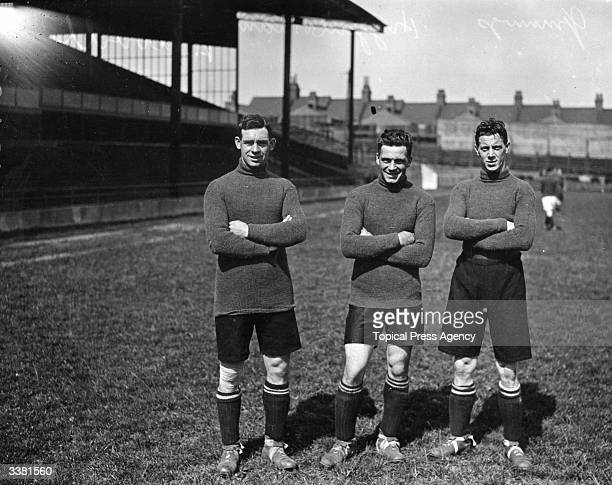 Luton Town FC soccer players left to right Jennings Higginbottam and Tiriell