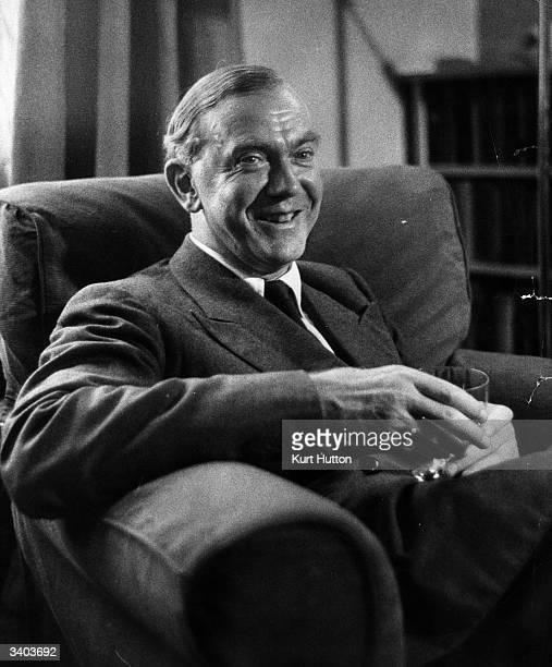 English novelist and playwright Graham Greene Original Publication Picture Post 7239 Graham Greene pub 1954