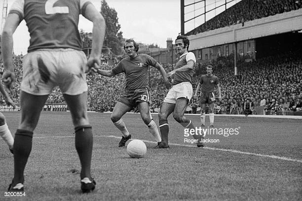 On the right Arsenal player George Graham competes for the ball with a Chelsea player during a London Derby match at Highbury Arsenal won the match 30