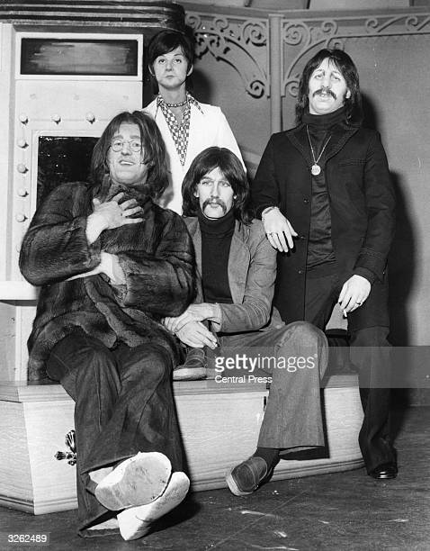 Actors playing The Beatles in a production of the musical 'John Paul George Ringo and Bert' at the Lyric Theatre Left to right Bernard Hill Phillip...