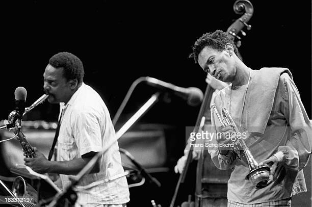 Trumpet player Don Cherry performs with David Murray at the NOS Jazz festival at de Meervaart in Amsterdam Netherlands on 15th August 1987