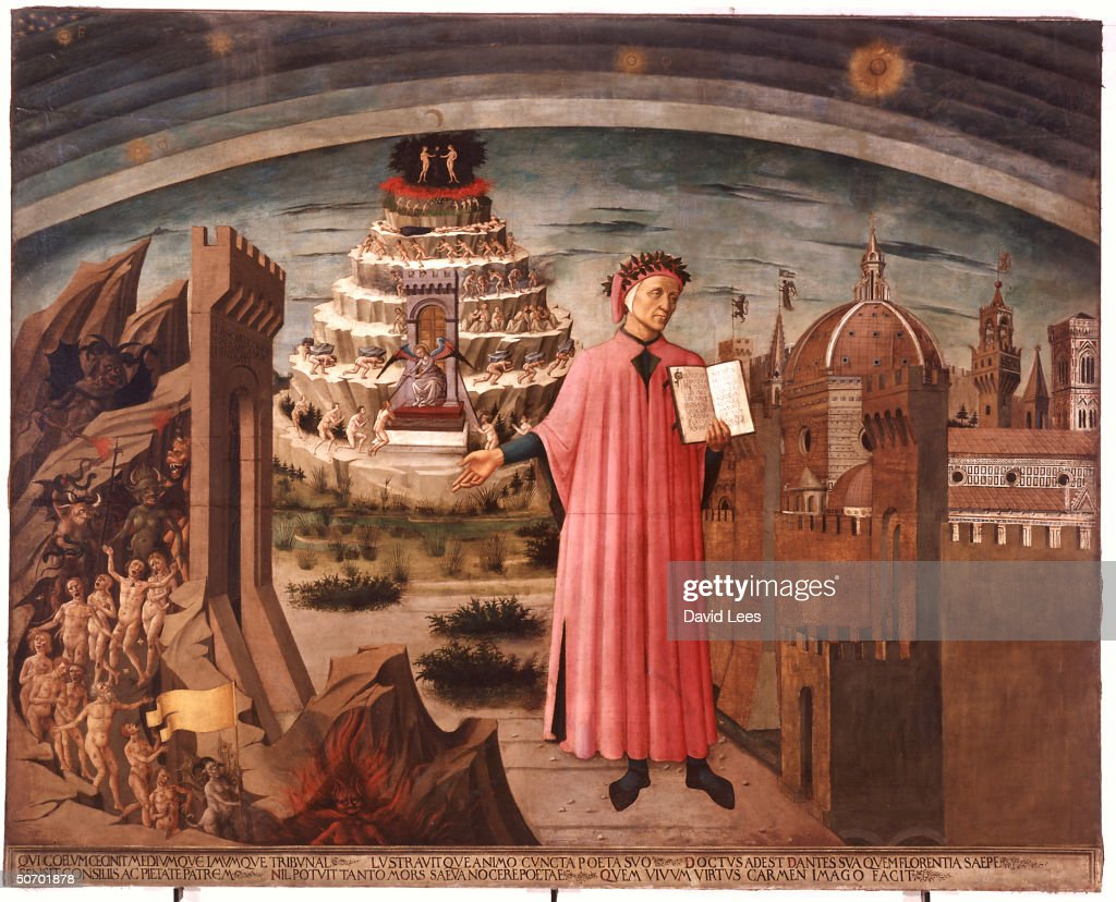 14th century Italian Renaissance poet Dante Alighieri holding his book DIVINE COMEDY against backdrop of Hell, Purgatory & Paradise in 1465 ptg. by Domenico Michelino.