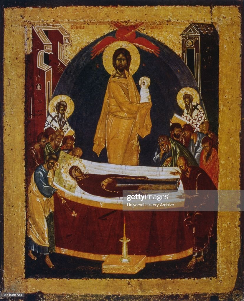 14th century russian orthodox icon showing the death of the virgin