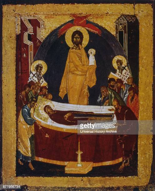 14th century Russian orthodox icon showing the death of the Virgin Mary Jesus looks on as the Virgin is laid on her deathbed