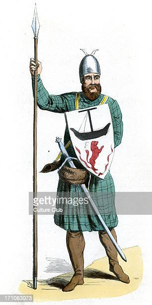 14th century Scottish chieftain at the time of Edward I and Robert the Bruce. He wears a sword, and carries a spear, wearing a shield with a lion at...