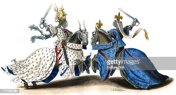 14th century tournament wearing full armour and brandishing swords ready for the fight The two nobles mounted on their horses are wearing ermine...