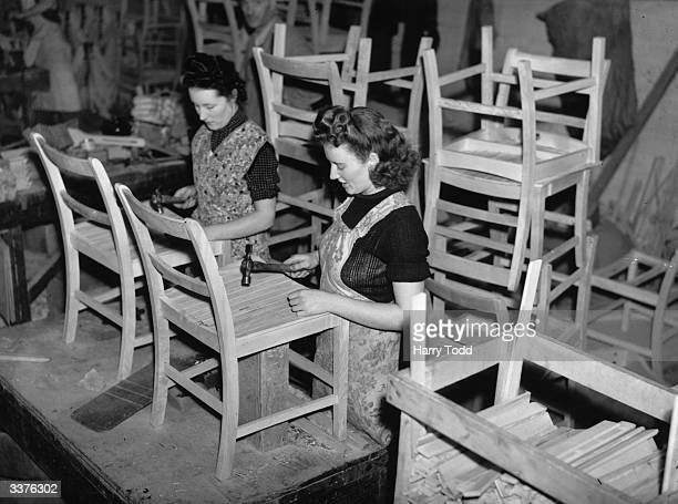 Women making utility furniture which will only be available by permit.
