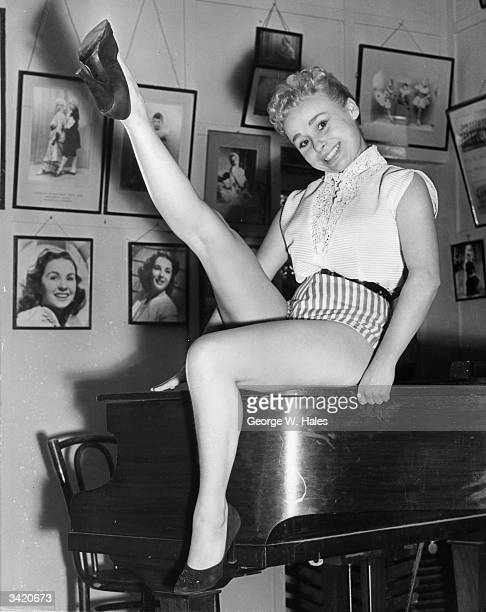 Actress Barbara Windsor practising her high kicks at the Aida Foster Stage School for the role of Red Riding Hood in pantomime