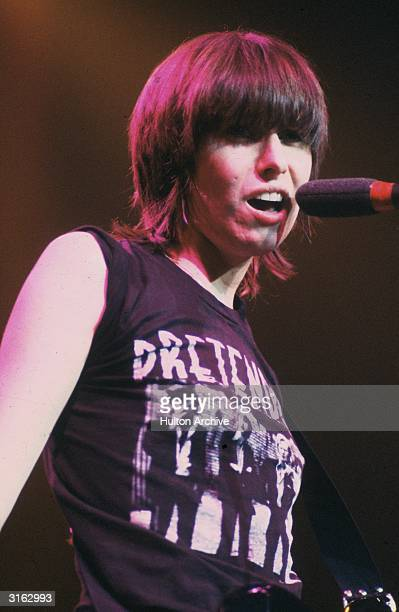 Chrissie Hynde the American vocalist with the British pop group The Pretenders performing at the Lyceum in London