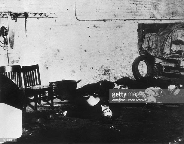The bodies of victims of the St Valentine's Day Massacre Chicago Illinois Mobster Al Capone's gang shot and killed seven members of a rival gang...