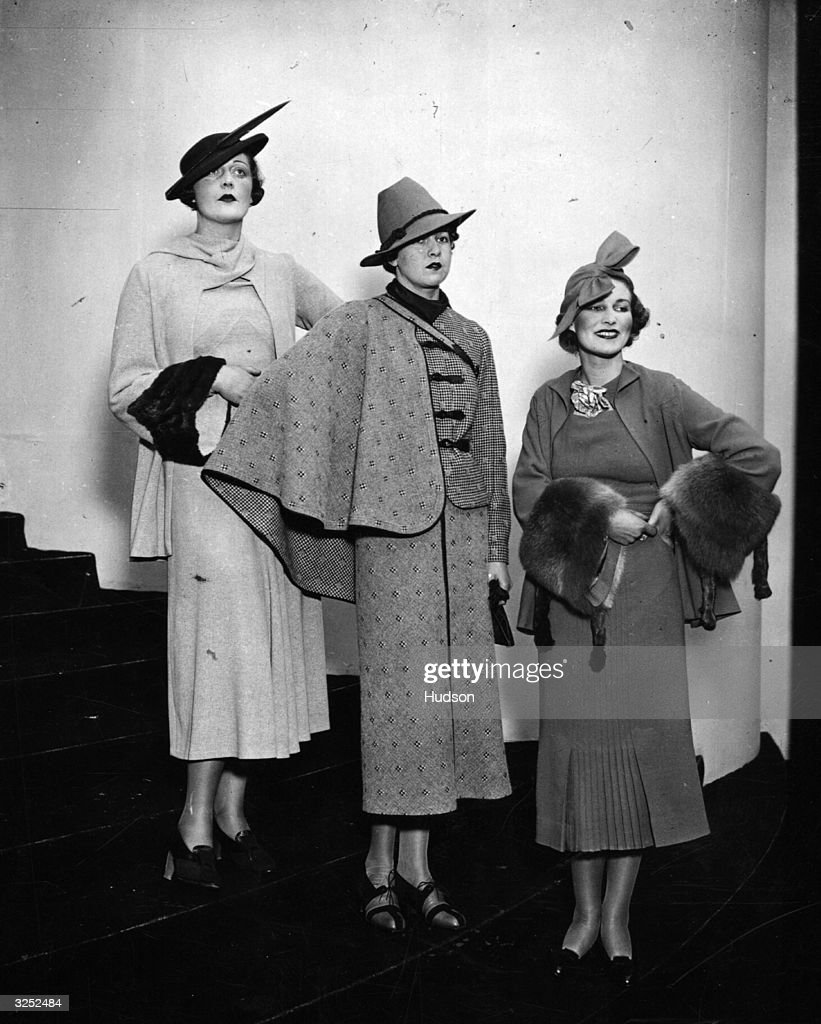 Rehearsals with three outdoor fashions being modelled at the Fashion Theatre at the White City in preparation for the British Industries Fair.