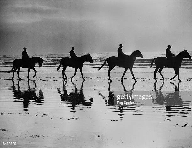 Racehorses being trained by David Dale are silhouetted against the skyline as they walk along the beach at Newhaven Sussex David Dale believes in sea...