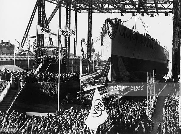 Adolf Hitler attends the launch of the 'Bismarck' Germany's first postwar 35000 ton battleship at the Blohm Voss shipyard Hamburg She was named after...