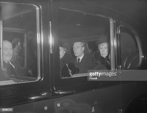The Duke of Windsor Queen Mary and Princess Royal make their way to pay their respects at King George VI's lying in state in Westminster Hall London