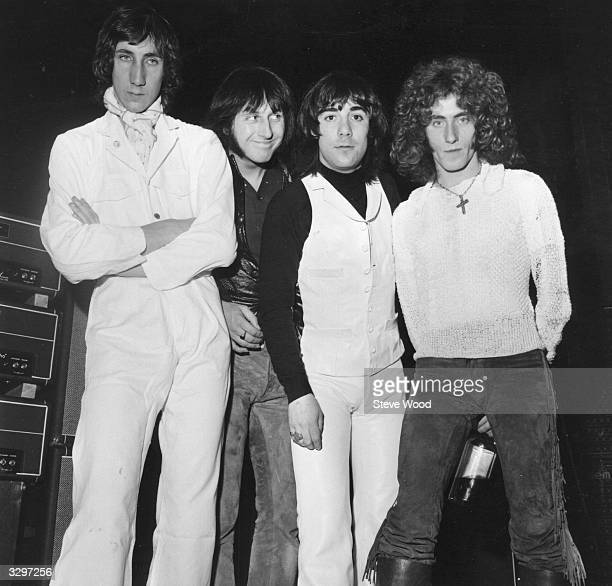 British rock group The Who from left to right Pete Townshend John Entwistle Keith Moon and Roger Daltrey shortly before going on stage at the London...