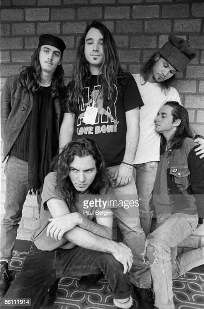 American rock band Pearl Jam posed in Amsterdam Netherlands on 14th February 1992 Left to right guitarist Stone Gossard vocalist Eddie Vedder drummer...