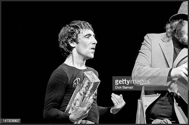 drummers John Bonham from Led Zeppelin and Keith Moon from The Who present spoof awards on stage during a concert featuring Roy Harper and Friends at...