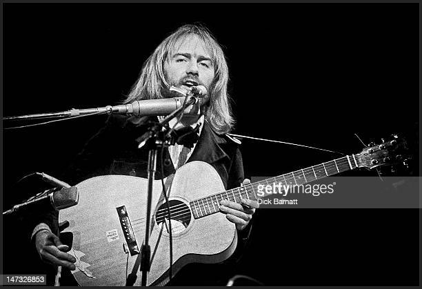English singer and songwriter Roy Harper performs live on stage during a concert featuring Roy Harper and Friends at the Rainbow Theatre in Finsbury...