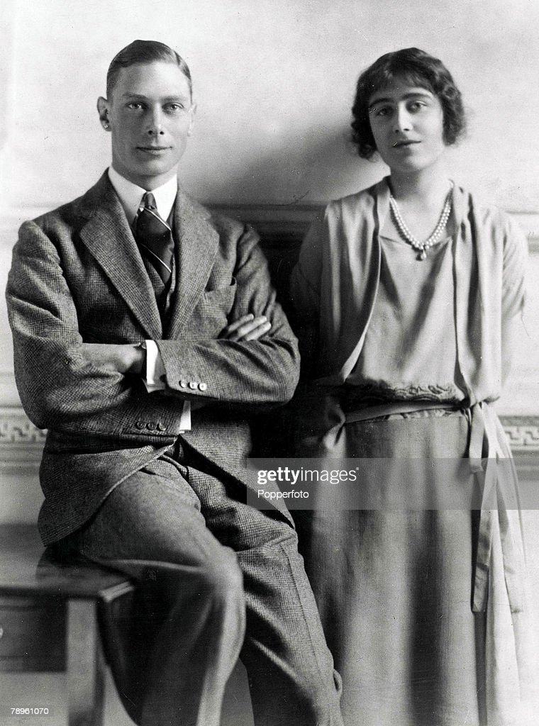 14th January 1923. King George VI and Queen Elizabeth (then Prince Albert, the Duke of York and Lady Elizabeth Bowes Lyon) pictured together around the time of their engagement. : News Photo
