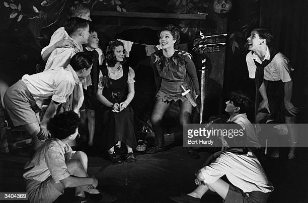 British actress Margaret Lockwood appearing as Peter Pan at the Scala Theatre London with Christina Forrest as Wendy on Peter's right Original...
