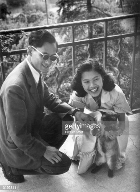 King Phumiphon Aduldet of Thailand and his fiancee Sirikit Kitiyakara. Thailand was ruled by regents until Phumiphon was formally crowned Rama IX in...