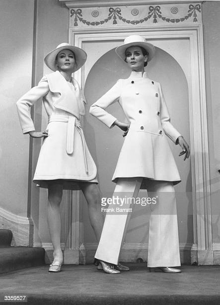 Lia wearing a coat and dress in ribbed wool with a large Diorling hat and Catherine modelling a white coat dress also with Diorling hat as Christian...