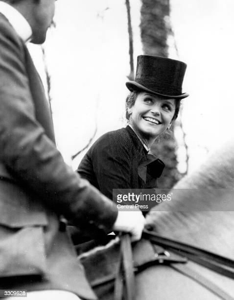 Hollywood actress Lee Remick out on horse back on location for the filming of a series of seven plays about Jennie Jerome mother of Sir Winston...