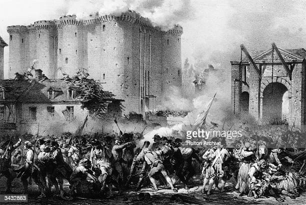 French troops storming the Bastille during the French Revolution. The prison represented the hated Bourbon monarchy and Bastille day is now...