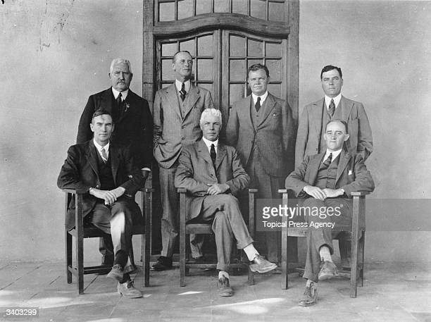 Members of the newly formed South African Cricket Board of Control l to r back row G Allsop Lt Col Van der Byl G L Tapscott H P Frielinghaus Sitting...
