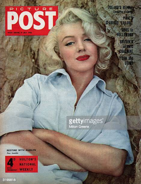 American actress Marilyn Monroe appears on the cover of Picture Post magazine in a pale blue shirt Original Publication Picture Post Cover Marilyn Is...