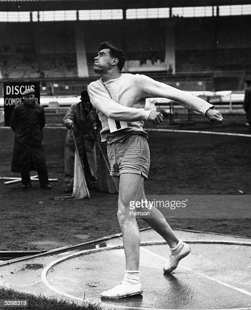 Discus thrower M Pharaoh of Walton Atletics Club competing in the AAA Championship final at White City London