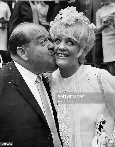 Actorcomedian Stubby Kaye kisses his bride Angela Bracewell He played the part of NicelyNicely Johnson in Guys and Dolls