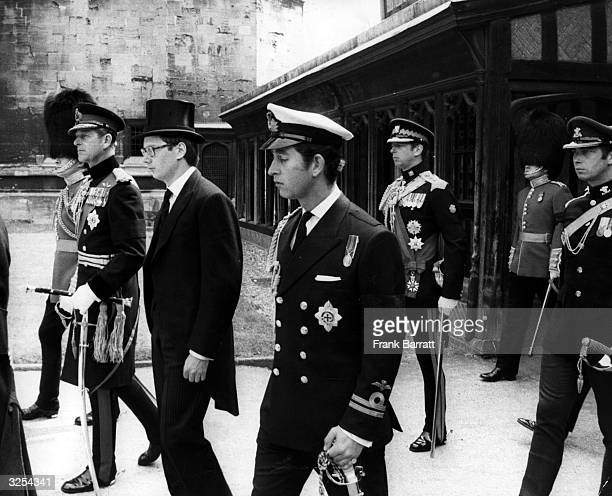 Male members of the British Monarchy attending the funeral of Henry Duke of Gloucester at St George's Chapel Windsor The Prince Philip Duke of...