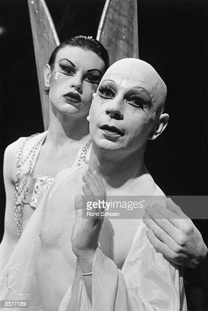 Scottish mime artist and dancer Lindsay Kemp and David Haughton appearing in the play 'Flowers'.