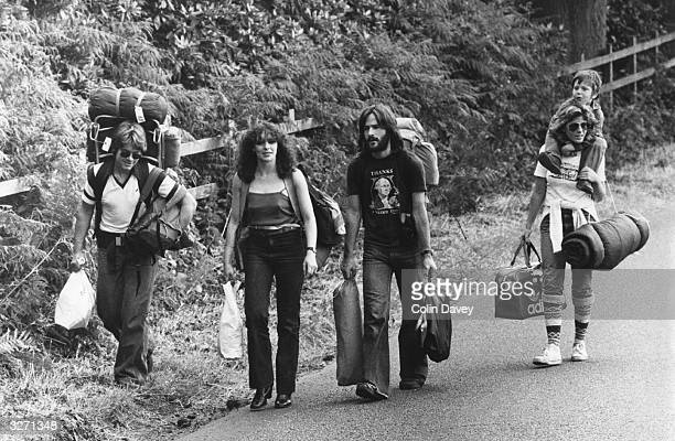 Hippies on their way to Picnic at Blackbushe in Hampshire for a Bob Dylan concert