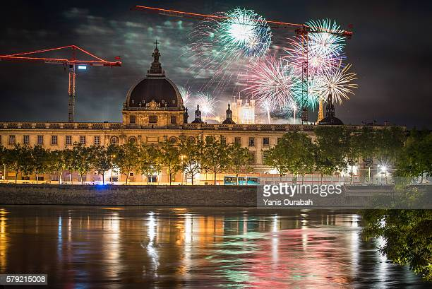 14th July 2016 fireworks Bastille Day celebration in Lyon, France