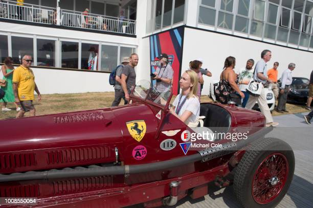 Annette Viessmann driving 1933 Alfa Romeo 8C 2300 Monza to the Assembly Area as entered by Martin Viessmann at Goodwood on July 14th 2018 in...