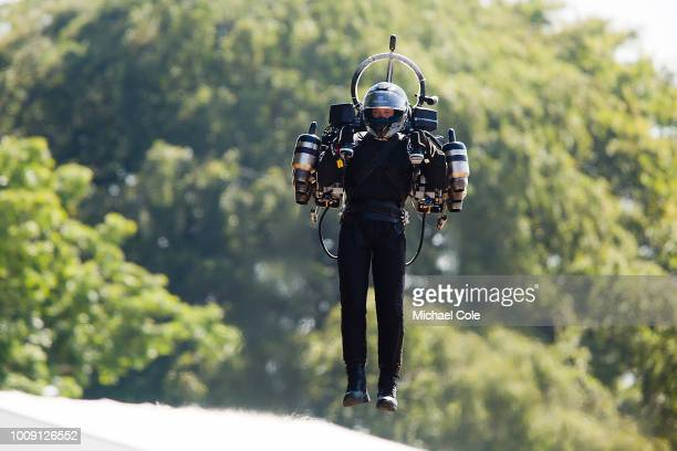 David Mayman flies up the Goodwood Hill displaying his JB11 JetPack at Goodwood on July 14 2018 in Chichester England