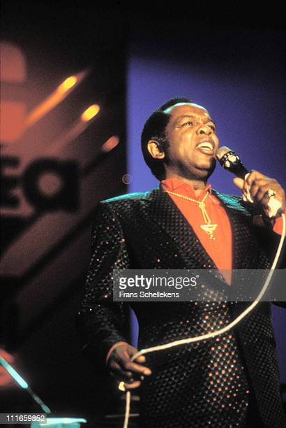 14th JULY: singer Lou Rawls performs live on stage at the North Sea Jazz festival in the Congresgebouw, The Hague, Netherlands on 14th July 1989.
