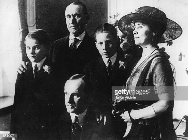 Governor of Massachusetts and Republican Vice Presidential candidate Calvin Coolidge with his father his two sons John and Calvin Jnr and his wife...
