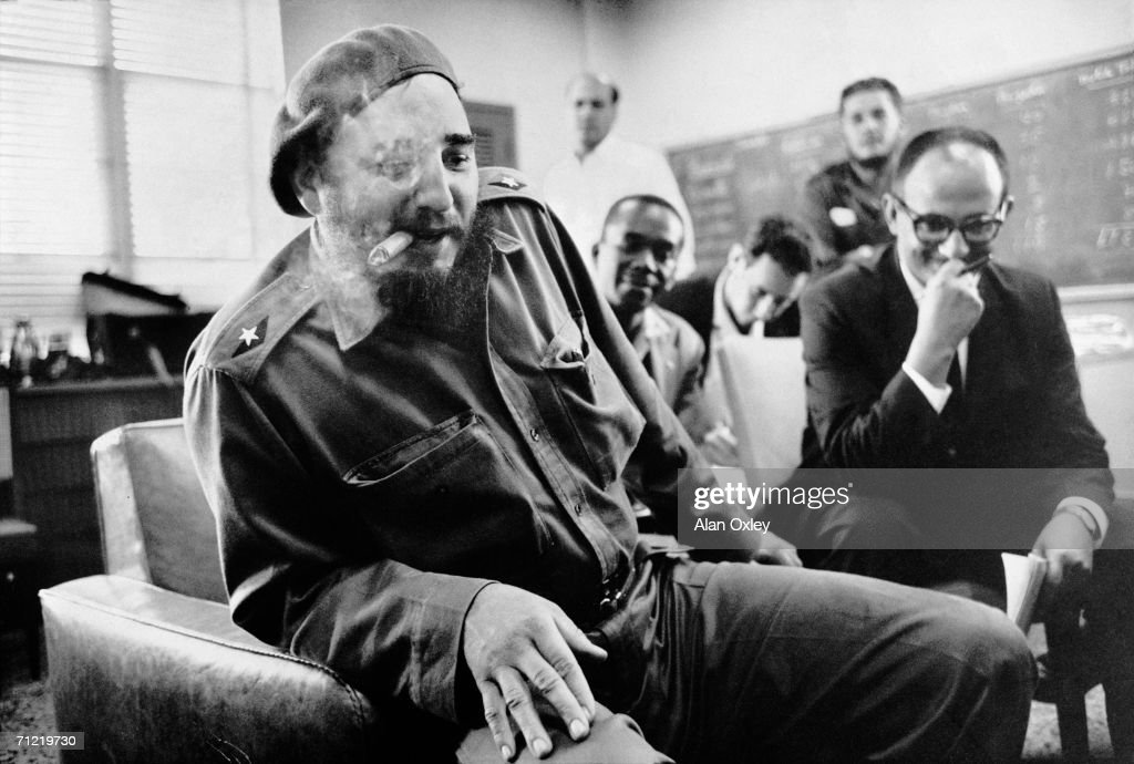 Fidel Castro meets the press after increasing the ransom for 1,173 prisoners captured by Cuban forces in the April Bay of Pigs invasion. An American 'Tractors for Freedom' committee journeyed to Havana to offer $2.5 million-worth of agricultural tractors for their release but Castro sent them away with a demand for $28 million worth. The prisoners were finally released in December, 1962, in exchange for $53 million in medical supplies.