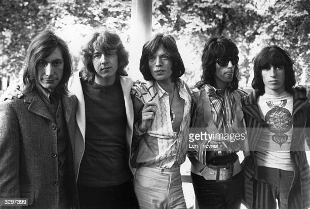 British rock band the Rolling Stones in 1969 after the death of founder member Brian Jones They are from left to right drummer Charlie Watts new...