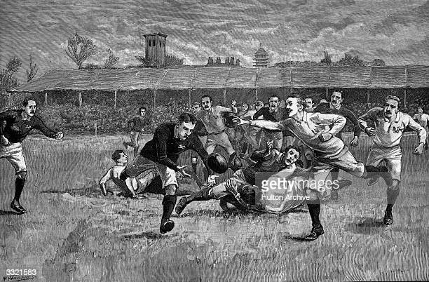 A rugby match between England and Scotland in the Athletic Grounds at Richmond England and Scotland played against each other in the first...