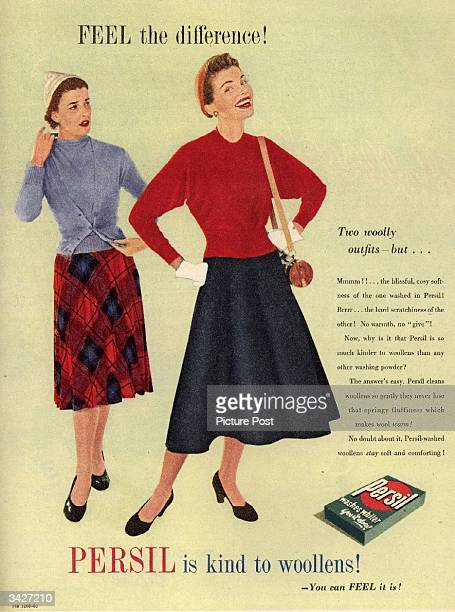 A test showing how 'Persil is kind to woollens' by demonstrating the contrast between two woolly outfits one washed in Persil and another in a...
